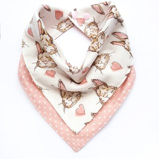 DOMOMO Alice Rabbit (Powder) - Double Yarn Double-sided Bib - Saliva towel scarf embroidery