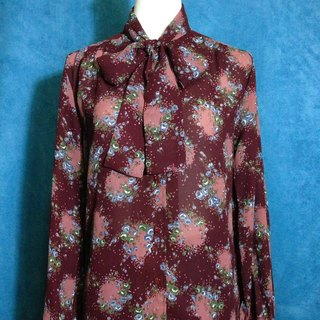 Ping pong ancient [ancient shirt / dark red flower collar collar chiffon long-sleeved ancient shirt] abroad back VINTAGE