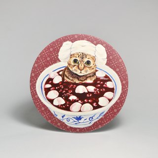 Water-absorbing ceramic coaster - tabby cat bubble red bean dumplings (send stickers) (can be purchased custom text)