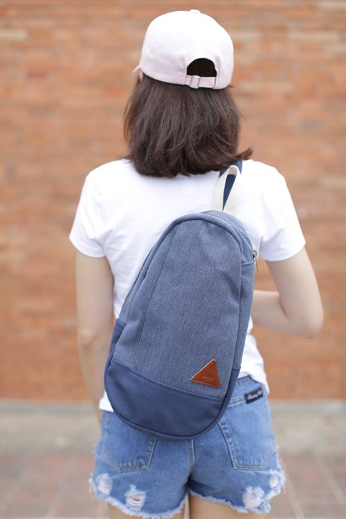 JUN Blue Rustic Canvas Mini Shoulder Bag backpack canvas shoulder bag blue.