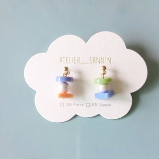 Candy Macaron Series - Grapefruit Macarons Dangle Handmade Earrings Ears/Ear clips