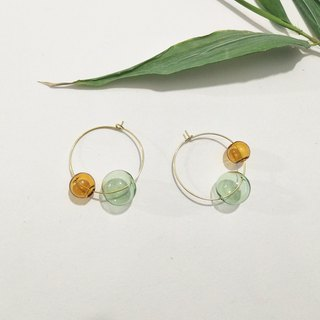 Bicolor Ball Earrings Mint Green Turmeric Round Earrings
