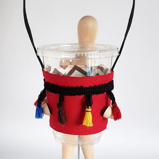 Vintage Style Colorful Tassel Drink Cup Bag/Red