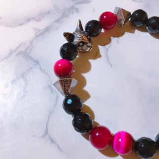 Rose Tiger Crystal Rock Cat Bracelet