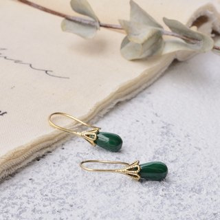 Handmade earrings in brass with malachite