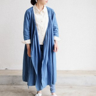 Hemp 100% Cache-coeur long dress Japanese indigo dyeing