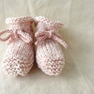 6M ~ wool cotton baby booties Pink