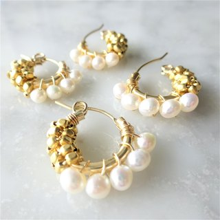 14Kgf*Freshwater pearl gold bi-color wraped earring/pierced earring