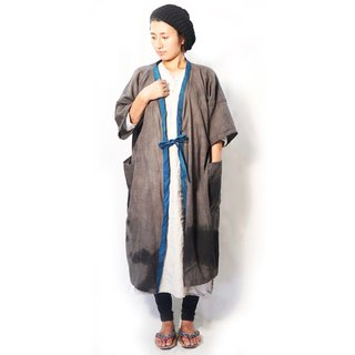 casual haori Kimono  calligraphy gray / natural dye soot  persimmon  cotton100%
