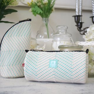 Styling storage bag / cosmetic bag / pencil case - special embroidery jacquard canvas (Tiffany green)