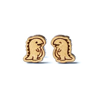 Plain wood earrings-Tyrannosaurus rex