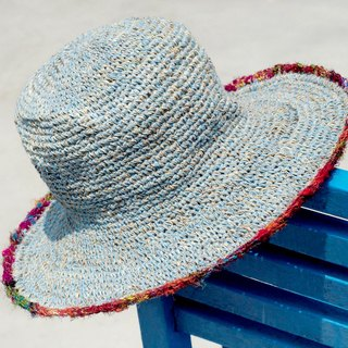 Hand-woven cotton saris line cap / knit cap / hat / straw hat - blue braided cotton sari +