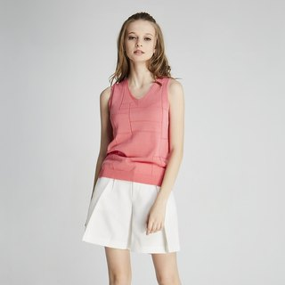Sleeveless V-neck knit top (1701KT01RE-S)
