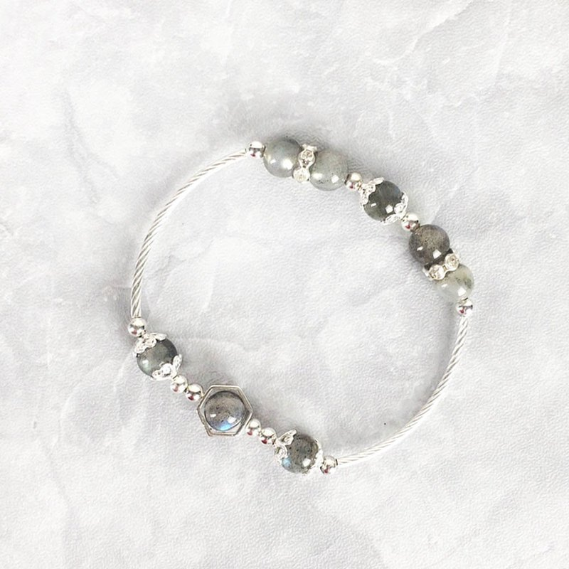 |Bend tube series|Moon goddess gray moonstone (S925 sterling silver x bracelet x handmade x customized)
