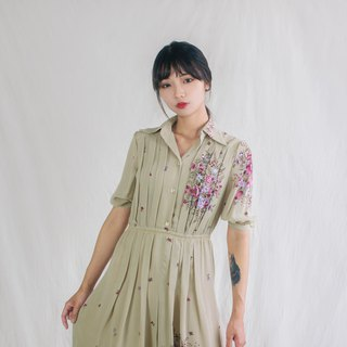 Khaki Floral Butterfly Five-point Sleeve Vintage Dress