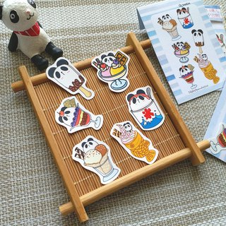 [Cute Panda Sticker Pack - Ice Cream Food] Stickers | 6 In