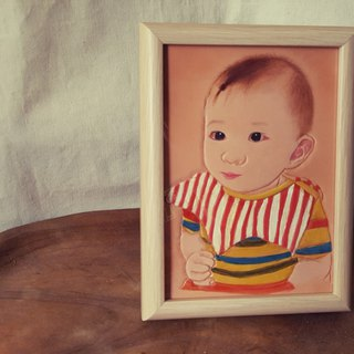 Custom BABY baby child pure leather wooden frame (made lover, birthday gift)