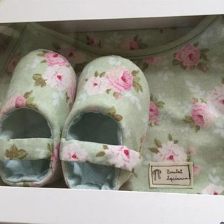 Pink Green Nordic Rose Moon Gift Box Two Set (Big Baby Shoes + Bib)