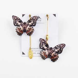 humming-Embroidery earrings / Lime Butterfly
