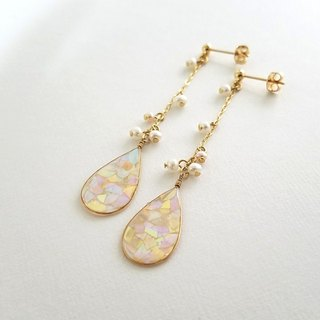 mosaic drop & freshwater pearl long pierced or clip-on earrings (peach)