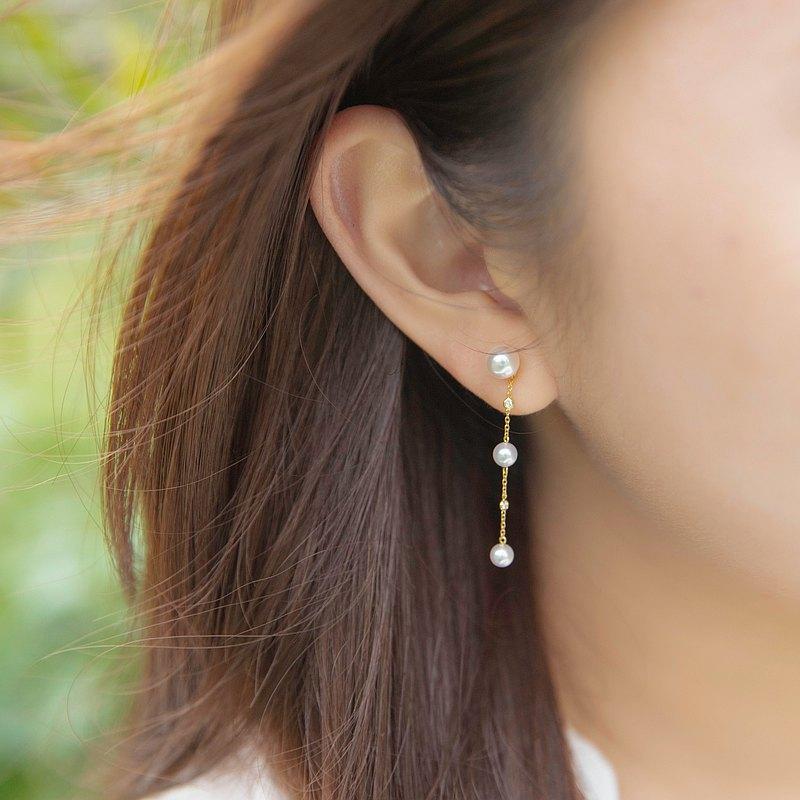 白日夢 - 垂墜珍珠鑲鑽耳環