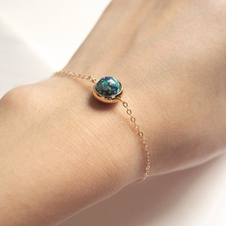 """KeepitPetite"" universe around the Earth planet · · · natural stone · gold-plated bracelet gift"