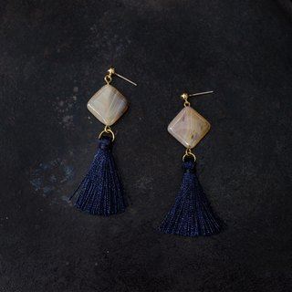 Marine agate blue tassel earrings - can be clip earrings