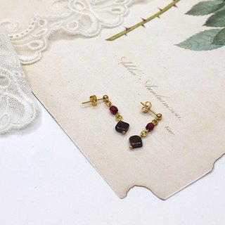square garnet  with crystal earring