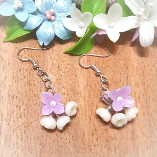 Wind bell flower (purple) earrings / ear hook / ear clip