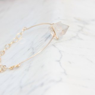 Simple fashion crystal 14K gold bracelet / Modern Crystal 14KGF bracelet