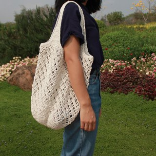 Tote bag ,Market bag ,White Crochet bag ,Shopping bag