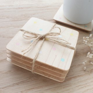 Colorful Marshmallow Dotted Coaster Four into Hand Brushed Taiwan Limited Edition Handmade Christmas Exchange Gift