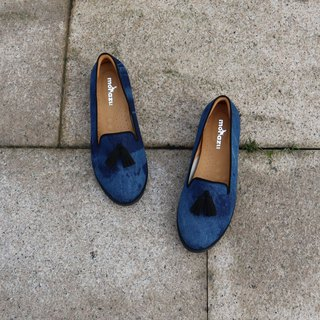 【Sneaky ripples】 limited handmade shoes / tie dyed cloth tulle fu shoes / leather inside / snow / shoes / shoes / ladies shoes Model: B91902 dark blue