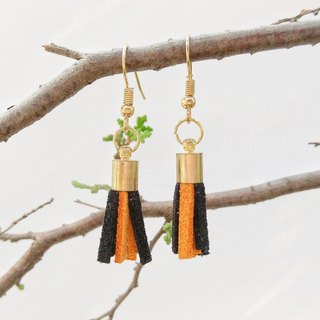 Black orange two-color Korean cashmere for tassel earrings can change ear clip
