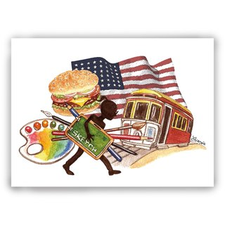 Hand-painted illustrations Multiplicated cards / cards / postcards / illustrations cards - American study road study hamburgers pallet bang bang flag