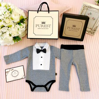 PUREST British Royal Bow Tie Gentleman [Gray] Fully Armed Gift Box Group / Mi Yue Gifts Preferred