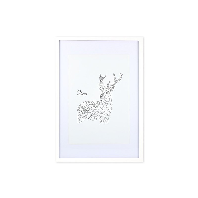 HomePlus Decorative Frame - Animal Geometric lines - DEER White 63x43cm Homedecor