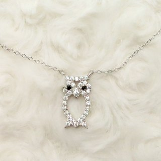 Farsighted Owl 925 Silver Necklace Zircon Pendant Platinum-Clad