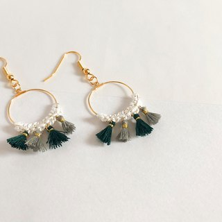 Bujielite- Crochet Gold Hoop Earring_with white thread and mini tassel