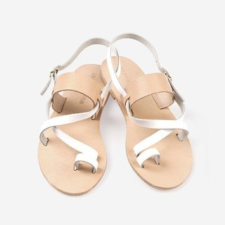 Clearing} {LovefromCyprus showpiece white cross nude color sandals EU38 (there are real diagram)