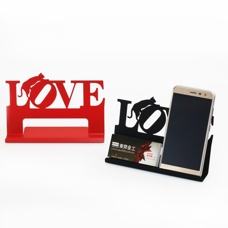 【OPUS Metalart】European Chic Metal Iron Cell Phone Holder & Business Card Holder Stand / Birthday Gift /Shop Gift / Office  / Valentine's Gift / Exchange Gift (Love Cat's shape - Black or Red optional) - One unit only