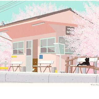 Tabineko illustrations printed sheet -15 | cherry-blossom viewing at the station | Sakuraeki | Art poster
