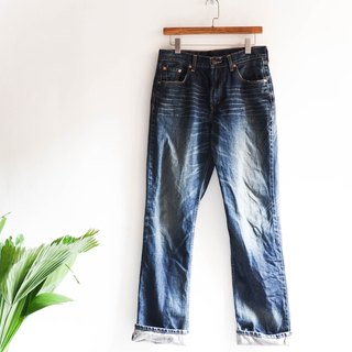 River Hill - levis 524 deep sea black blue brush color cotton denim vintage stereoscopic straight wide pants vintage denim pants vintage