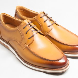 Hand-painted calf leather U-Tip casual shoes Derby shoes - caramel color - free shipping - E2A19-89