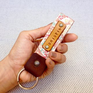 Personalized Fabric Fob Leather Key Chain,Custom Keychain,Stamped Gift For Her