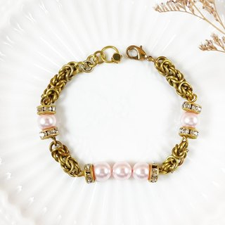 cirCle Life. Brass classical impression _ // pink bracelet