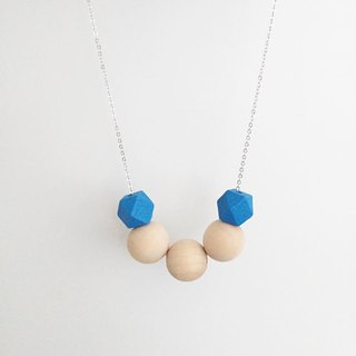 "LaPerle ""Lam Sim Yuen"" series of geometric blue spherical glass beads wave Original handmade wooden bead necklace rhodium plated copper necklace jewelry chain Free ship Beads Ball Necklace Geometric Free Shipping"