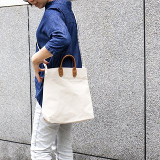 Point bag [icleaXbag] simple M leather canvas shopping bag new side strap with tannin blue