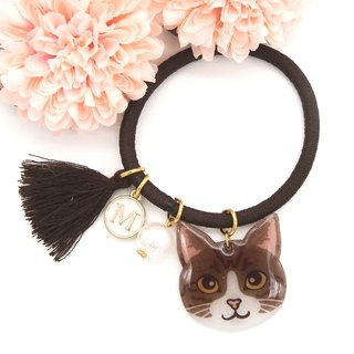 Meow handmade cat and cotton pearl hairband - brown cat