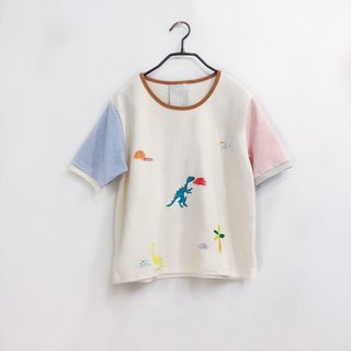 Little dinosaur short sleeve crop top-pastel